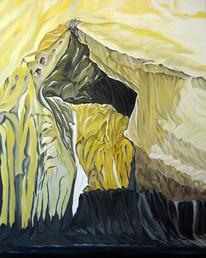 Höhle, Felsen, Ölmalerei, Landschaft