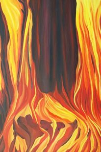 Feuer, Rot schwarz, Flammen, Ölmalerei