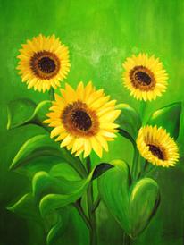 Blumen, Ölmalerei, Blüte, Sonnenblumen