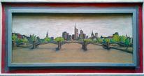 Frankfurt am main, Brücke, Skyline, Frühling
