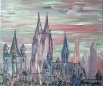 Köln, Dom, Rosa, Acrylmalerei