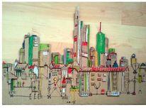 Pappe, Skyline frankfurt, Grün rot, Karton