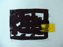 Schwarz, Gelb, Abstrakt, Malerei