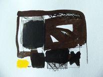 Abstrakt, Schwarz weiß, Gelb, Malerei