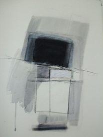 Schwarz weiß, Grau, Abstrakt, Malerei