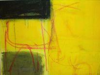 Schwarz, Abstrakt, Gelb, Malerei