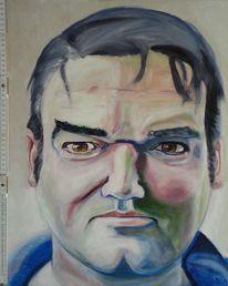 Mdf platte, Acrylmalerei, Borstenpinsel, Portrait