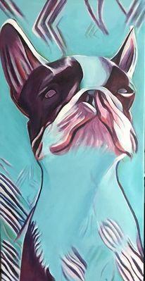 Abstrakt, Acrylmalerei, Malerei, Hund