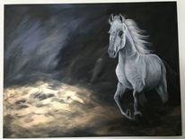 Vierbeiner, Tiere, Pferde, Acrylmalerei