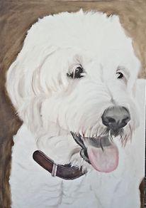 Hund, Hundeportrait, Ölmalerei, Portrait