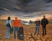 Ende, Ölmalerei, Dürre, Landschaft