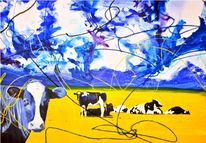 Licht, Kuh, Vollmond, Blau