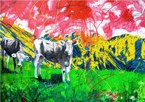 Zeitgenössisch, Malerei, Kuh, Gegenwartskunst