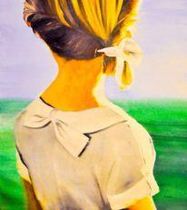 Authentic, Mädchen, Gemälde, Abend