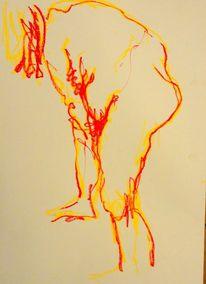 Akt, Barock, Skizze, Pastellmalerei