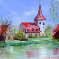 Markt taschendorf, Malerei, Kirche, Weiher