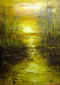 Schilf, Malerei, Sonnenuntergang