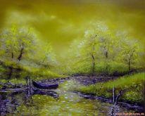 Fischweiher, Malerei, Weiher, Abend