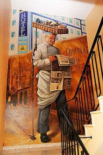 Treppenhaus, Wandmalerei, Malerei