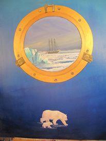 Segelschiff, Bullauge, Eisbär, Polarregion
