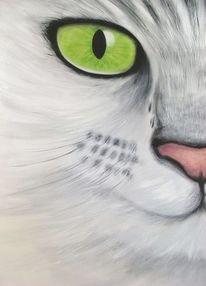 Katze, Acrylmalerei katze, Katzenaugen, Grünes katzenauge