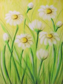 Wiese, Blumen, Frühling, Malerei