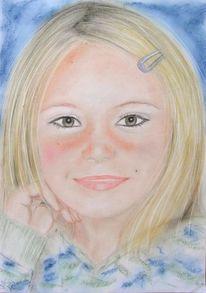 Mädchen, Pastellmalerei, Portrait, Zeichnungen