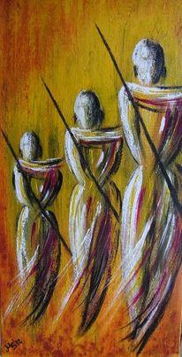 Afrika, Krieger, Acrylmalerei, Massai
