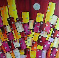 Abstrakt, Skyline, Blattmetall, Malerei