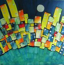 Skyline, Acrylmalerei, Mond, Blattmetall