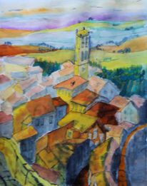 Trasimeni, Cortona, Aquarellmalerei, Toskana