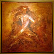 Orange, Spachtel, Figural, Acrylmalerei