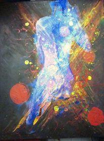 Acrylmalerei, Blau, Transparenz, Bunt