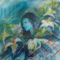 Mädchen, Blüte, Blau, Mystik