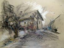 Haus landschaft, Pastellmalerei, Baum, Altes haus