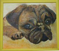Hund, Mops, Pastellmalerei, Welpe