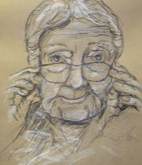 Pastellmalerei, Oma alte frau, Malerei, Menschen