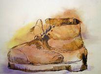 Pastellmalerei, Tusche, Zeichnung, Alter schuh