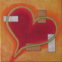 Herz, Rot, Gold, Malerei