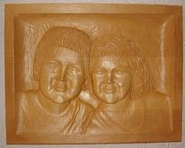 Portrait, Relief, Kunsthandwerk, Holz