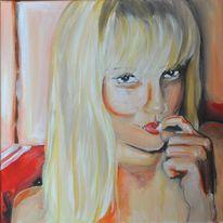 Portrait, Frau, Nagel, Knabbern