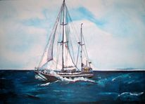Segelschiff, Welle, Meer, Bewegung