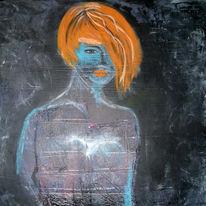 Junge, Mädchen, Acrylmalerei, Blau