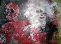 Figurativ, Frau, Paar, Rot