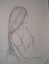 Lange haare, Profil, Schnelle, Zeichnung