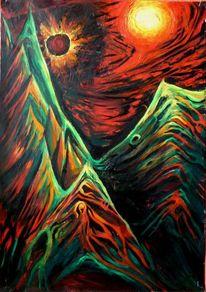 Berge sonne, Malerei, Surreal