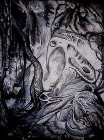Vogel, Augen, Spinne, Wurzel