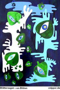 Grün, Mischtechnik, Farben, Blätter