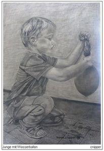 Wasser, Wasserballon, Kind, Bleistiftzeichnung