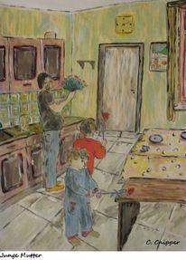 Junge, Kinder, Mutter, Malen
